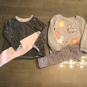 4 Piece Bundle- Girls 2 sets: Sweatshirt & legging